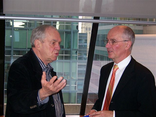 Ed Broadbent (L) with guest speaker Hugh Mackenzie