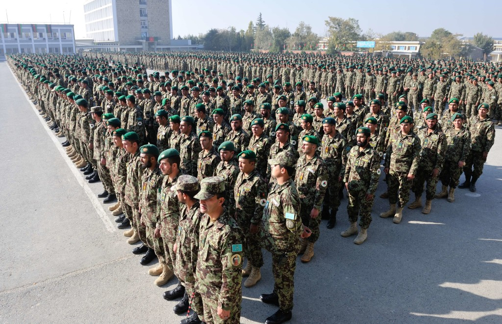 Afghan National Army soldiers line up for a graduation parade at the Kabul Military Training Centre Photo: Sgt Norm McLean, Canadian Forces Combat Camera