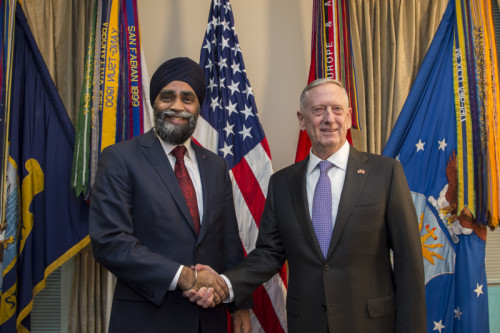 Secretary of Defense Jim Mattis meets with Canada's Minister of Defense Harjit Sajjan Feb. 6, 2017, at the Pentagon in Washington, D.C. (DOD photo by Air Force Tech. Sgt. Brigitte N. Brantley)
